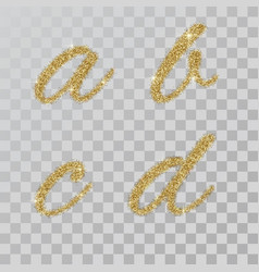 gold glitter powder letter abcd in hand painted vector image