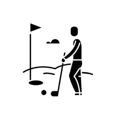 golf player black icon sign on isolated vector image