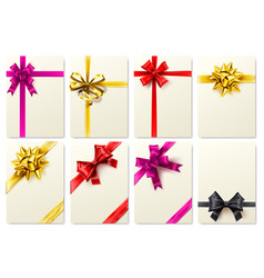 greeting card with realistic bow golden ribbon vector image