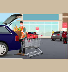 Grocery worker putting groceries inside a car vector