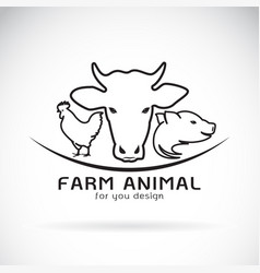 Group of animal farm label cow pig chicken vector