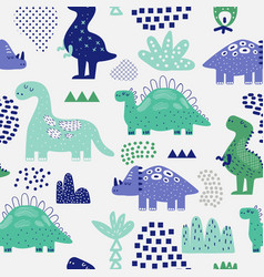hand drawn dinosaurs seamless pattern vector image