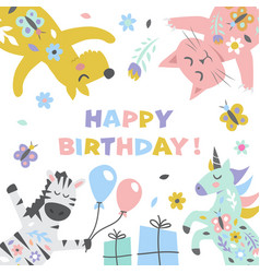 happy birthday cute for greeting card vector image