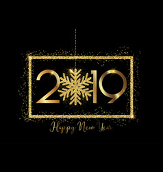happy new year background with gold lettering and vector image