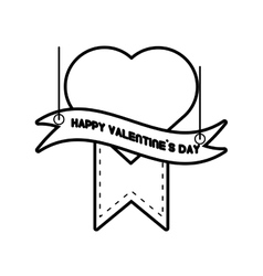 Happy valentines day card heart hanging ribbon vector