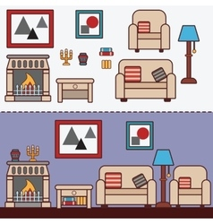 Home furniture Interior design vector image