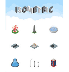 isometric architecture set of dc memorial turning vector image vector image