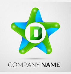 Letter d logo symbol in the colorful star on grey vector