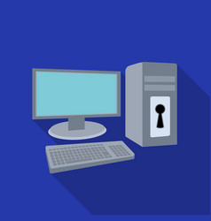 Locked computer icon in flat style isolated on vector