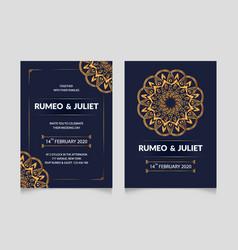 Mandala style wedding invitation card template vector