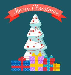 merry christmas holidays celebration pine tree vector image
