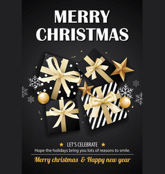 merry christmas party and gift box on black vector image