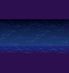 night sea and star sky vector image