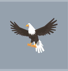 north american bald eagle character feathered vector image