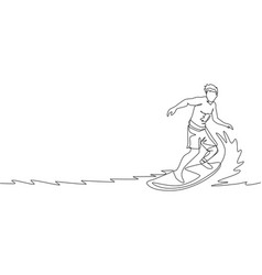 One continuous line drawing young happy tourist vector