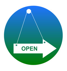 open sign white icon in vector image