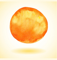 Orange watercolor paint circle vector