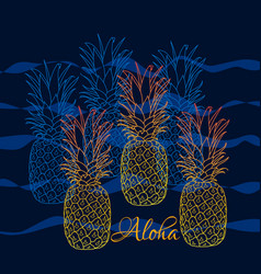 Pineapple poster hand drawn vector