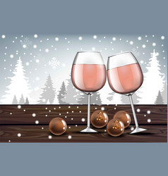Pink wine glasses with chocolates realistic vector