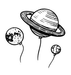 Planets in space for emblem or logo astronomy vector