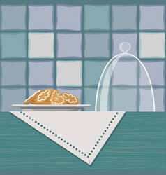Plate with cookies on shelf with linen napkin vector