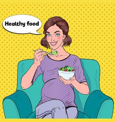 pop art happy pregnant woman eating salad at home vector image
