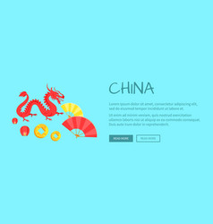 red dragon chinese symbol and fans web banner vector image