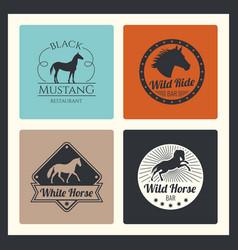 Retro racing horse running mare logos vector