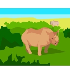 Rhino on background bushes animals and nature vector