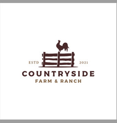 rooster perched on fence logo design vector image