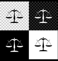 scales justice icon isolated on black white vector image