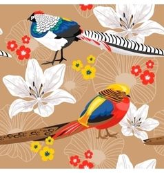 Seamless background with flowers and pheasants vector