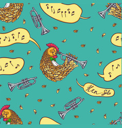 seamless pattern with rooster and trumpet vector image