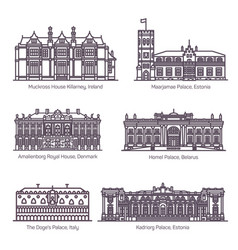 Set isolated royal palace or parliament house vector