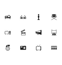 Set of 12 editable cinema icons includes symbols vector
