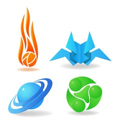 Set of abstract symbols sphere flame green vector