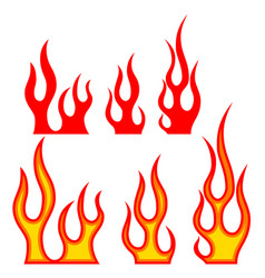 set of fire on white background design elements vector image