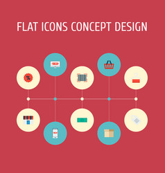 set of store icons flat style symbols with store vector image
