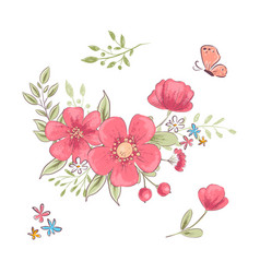 set red wildflowers and butterflies hand vector image