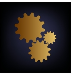 Settings sign Golden style icon vector image