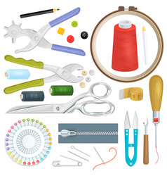 sewing tailor tools sew craft needle thread vector image