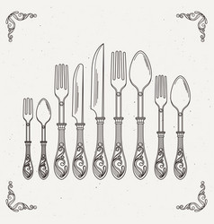 sketched retro tableware vector image