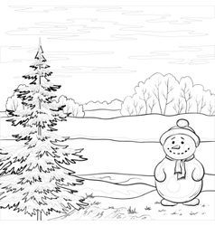 snowman and christmas tree contours vector image vector image