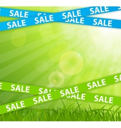 Spring Sale Concept with Nature and Ribbons vector image