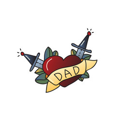 tattoo love for dad on white background vector image