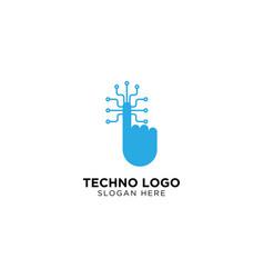 Techno hand logo design template vector