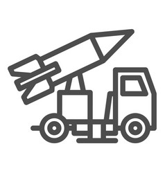 Truck with rocket line icon rocket launch vector