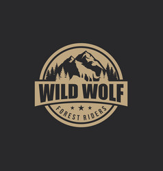 Vintage wolf logo template vector