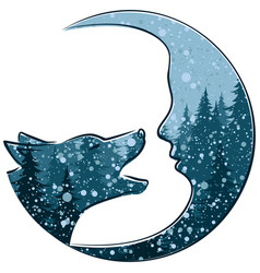 Wolf with month and winter forest vector