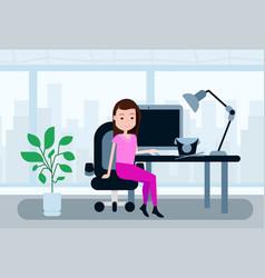 woman sitting office working desk lunch break vector image